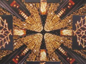 This image depicts the centre area of the collage with a glimpse of the holly lights which hang brightly in George Square during the festive season.