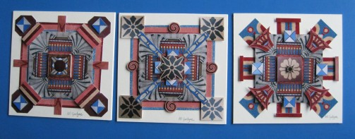 Tese three small collages look like tile designs. The patterns were created from the wonderful Minton flooring in the house and the red, yellow and blue decorative wall coverings which are being carefully restored by the national Trust Scotland.