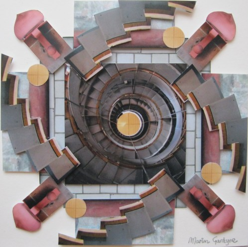 This collage is postcard size and features The Lighthouse helical staircase.