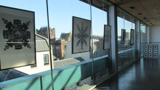 I completed the hanging of the collages at The Lighthouse, on a beautiful September day with a perfect backdrop of clear blue sky and a variety of Glasgow rooftops.