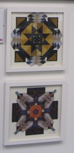 Two of the several collages exhibited at ArtVillage,Shawlands in Glasgows Southside.