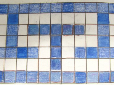 Small Blue and White Square Mosaic Tiles