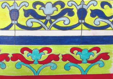 Wall tile with alternative colourway using crimson, turquoise and green colours.