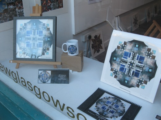 Walls and Tiles collage features in this display in several forms. The original collage was displayed with a print and features on calendars 2017.